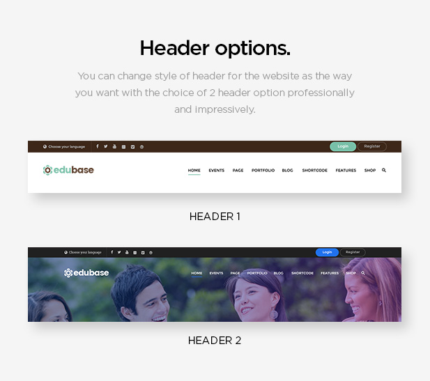 header options