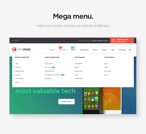 Mega menu