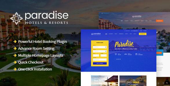 Paradise - Hotels & Resorts Responsive WordPress Theme