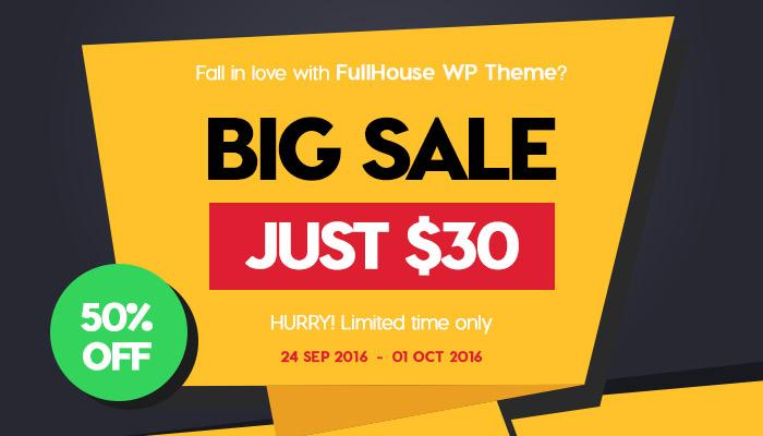 Sale off 50% Fullhouse WordPress Theme