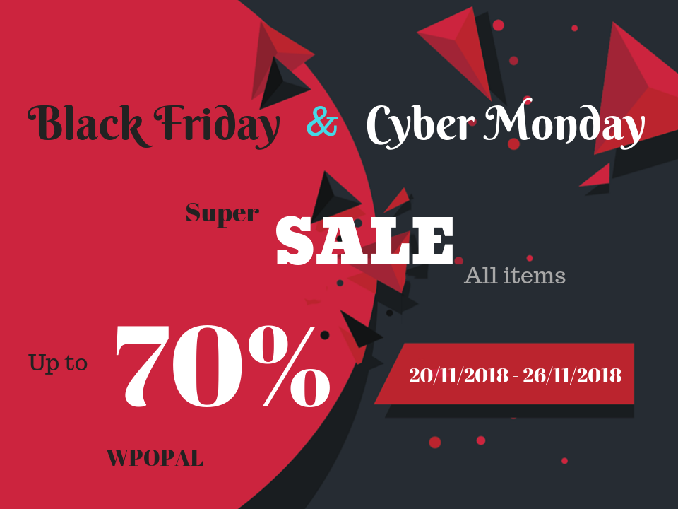 Sale up to 70% for Black Friday & Cyber Monday