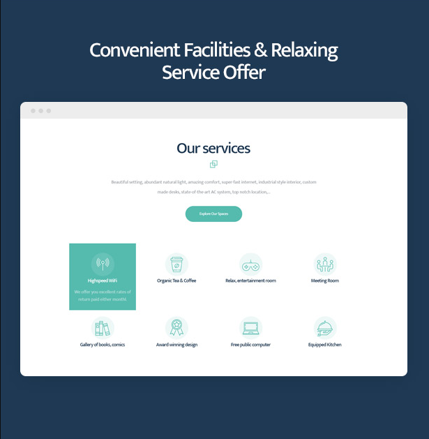 Coworkshop Coworking Space WordPress Theme with facilities and services