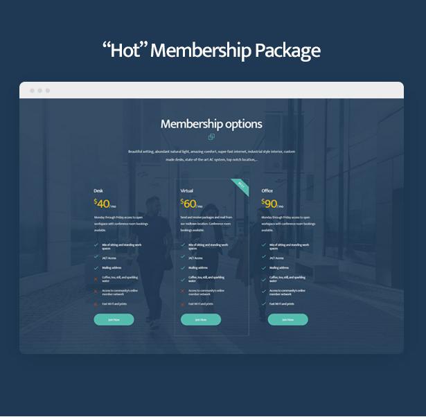 Hot memberships in Coworkshop Coworking Space WordPress Theme