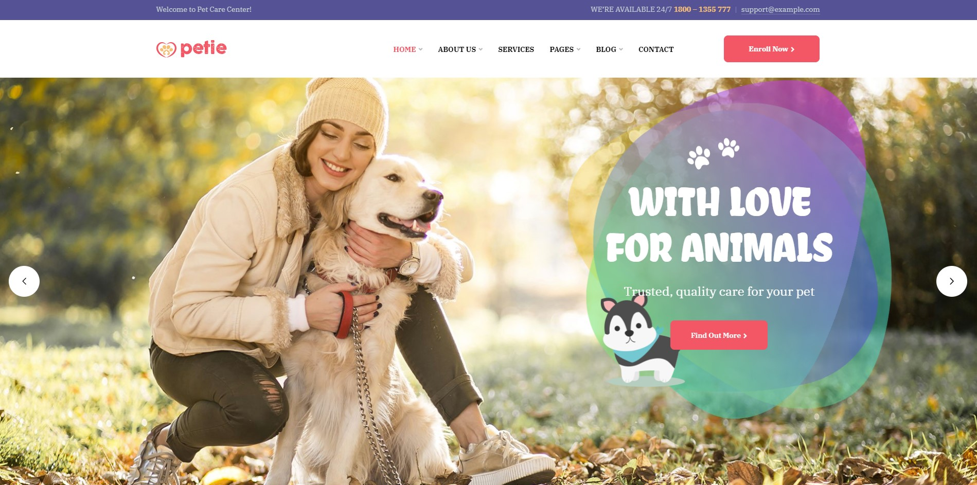 Petie pet care wordpress theme