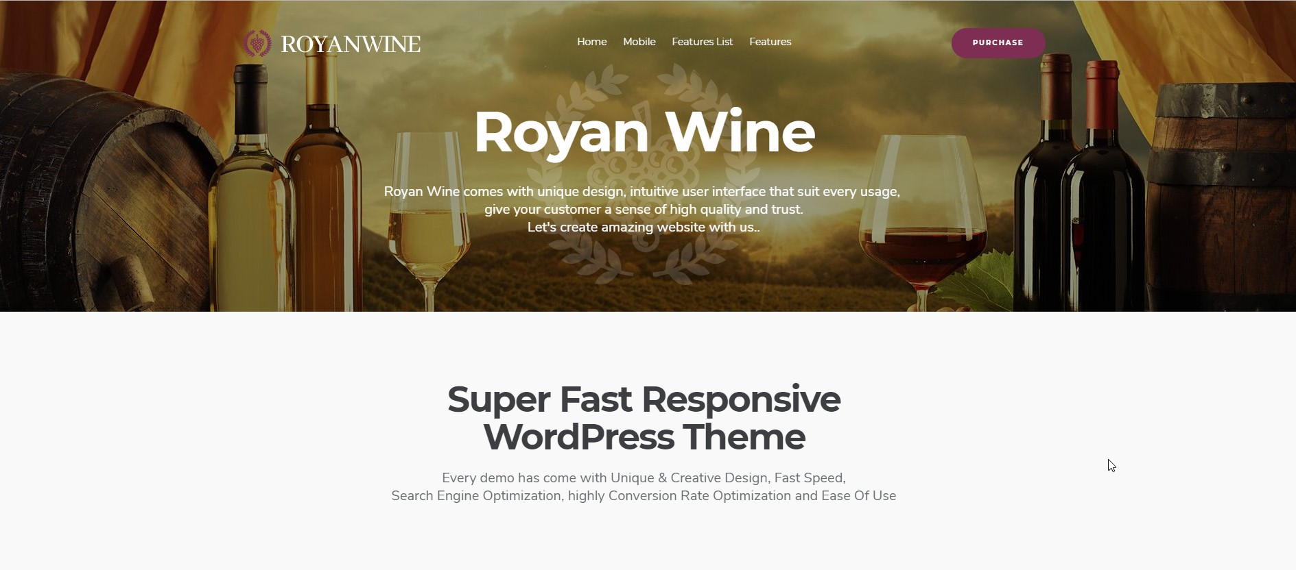 Royan Wine Vineyard, Winery, Wine Shop and Dairy Farm WordPress Theme