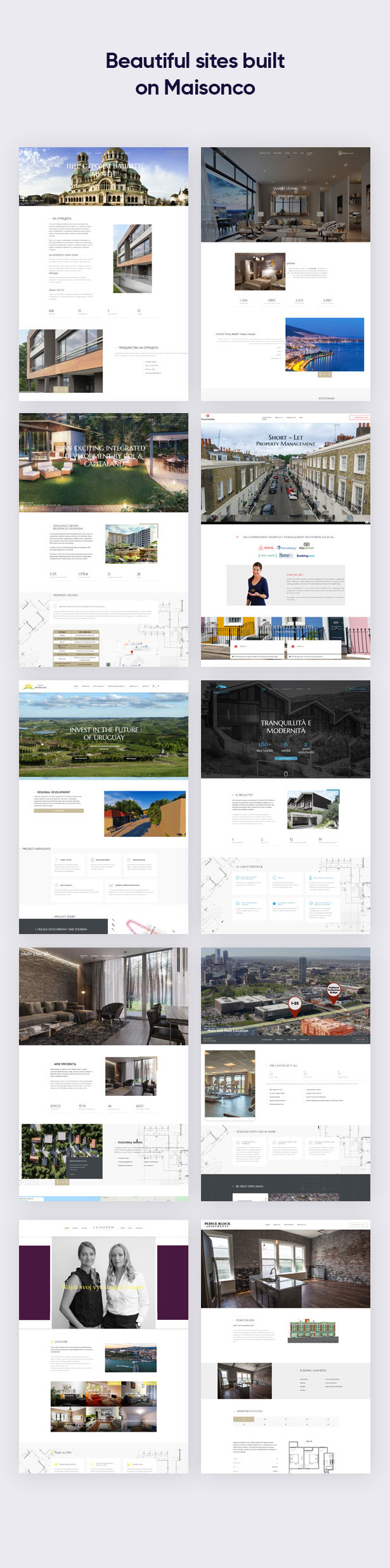 Beautiful sites built on MaisonCo Single Property For Sale & Rent WordPress Theme