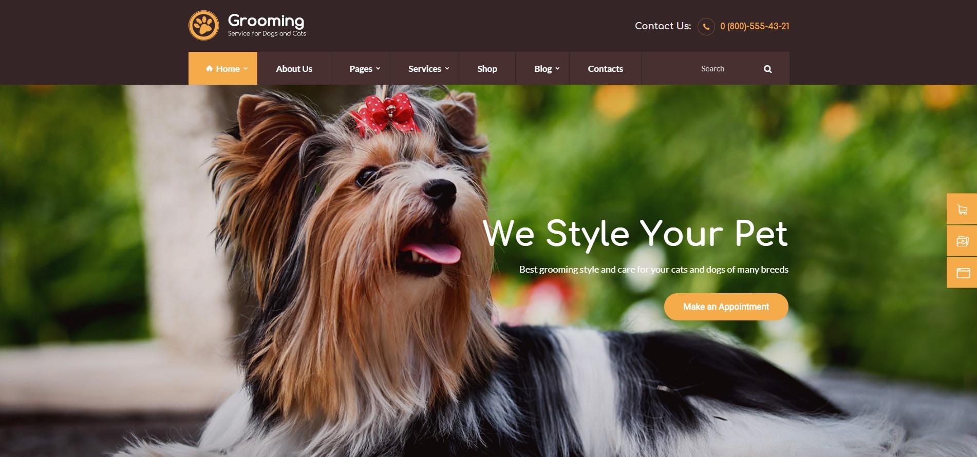 Grooming - Pet Shop & Veterinary Physician WordPress Theme