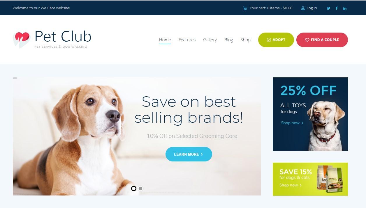 Pets Club - Pet Shop & Breeding Veterinary WordPress Theme