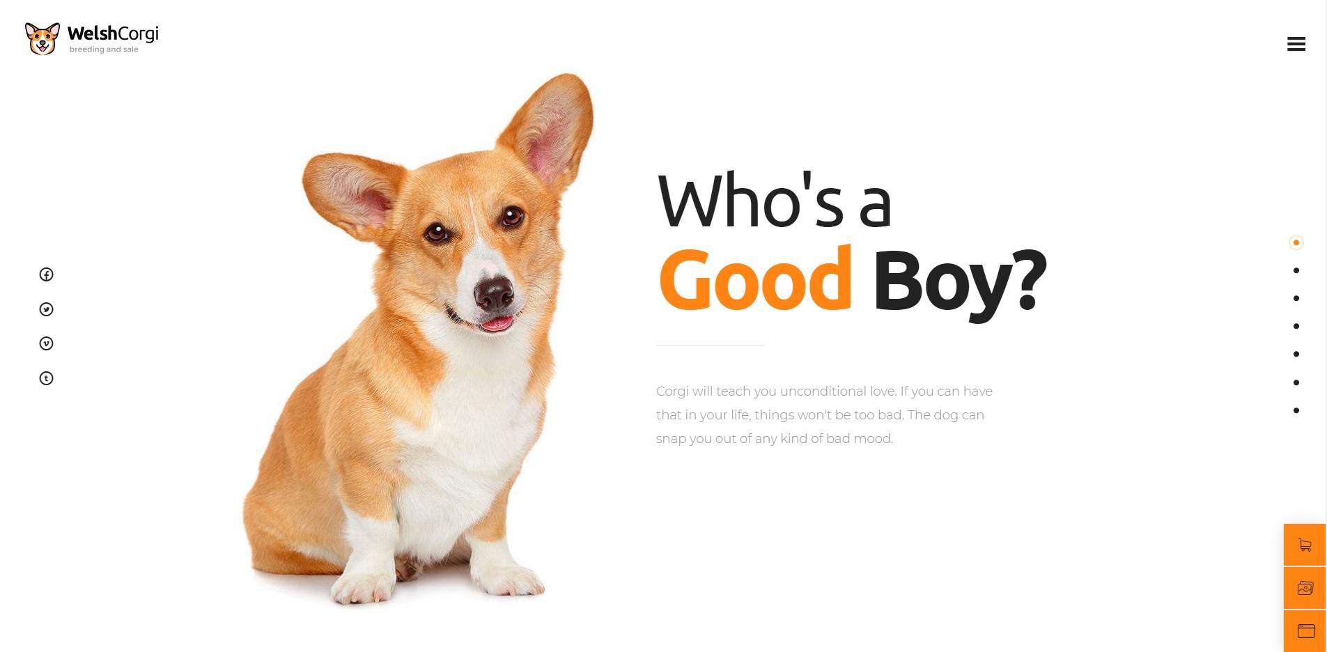 Welsh Corgi - Pet Care WordPress Theme