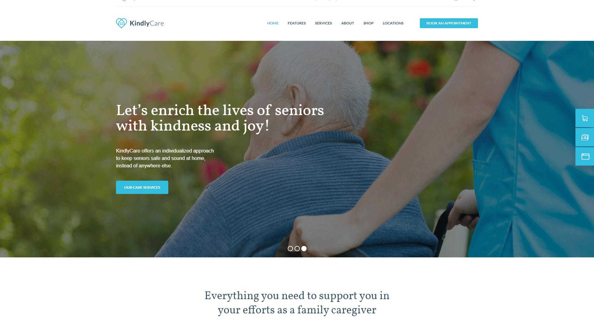 Kindlycare senior care WordPress theme