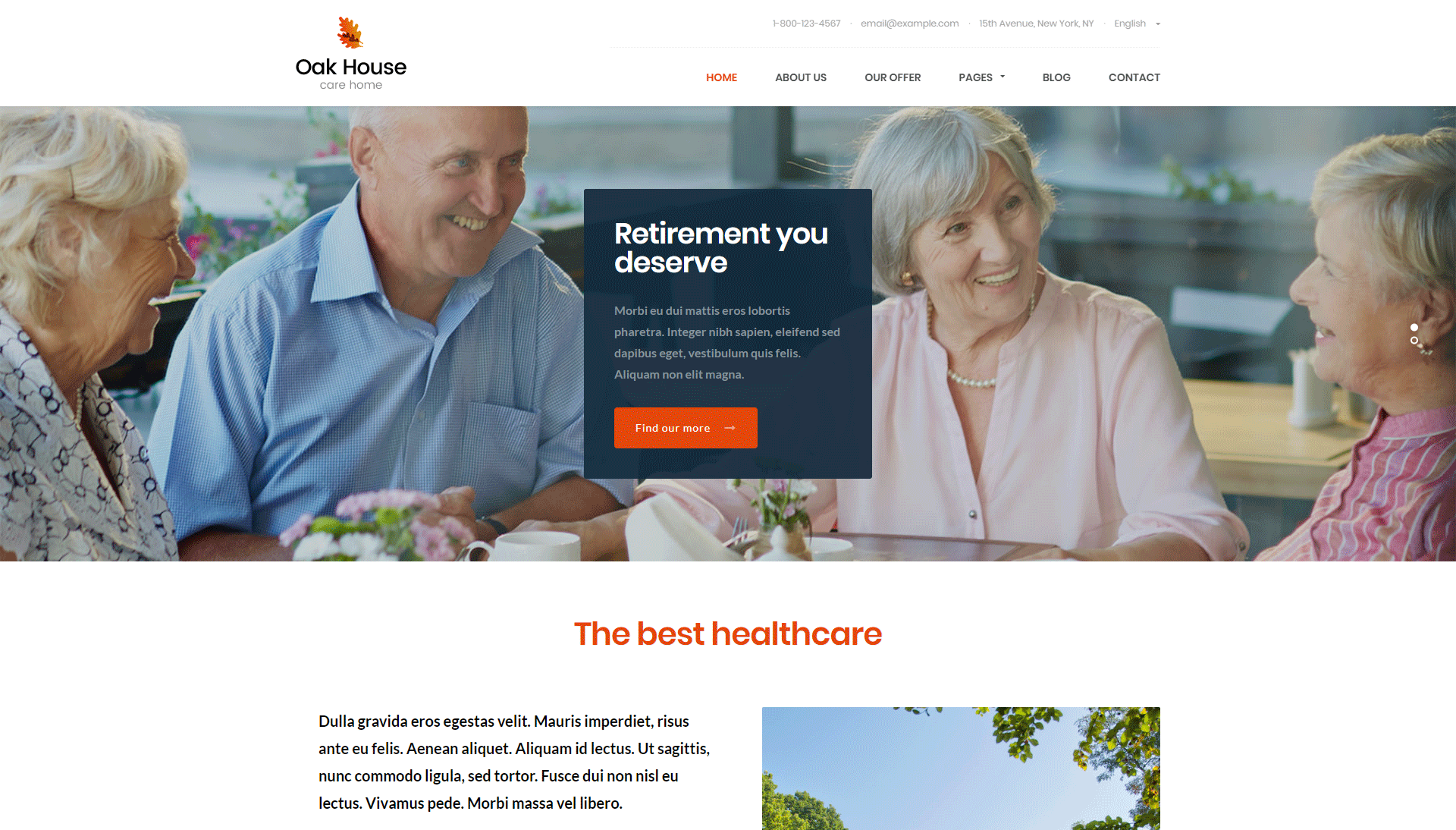 Oak House - Senior Care, Retirement, Rehabilitation WordPress Theme