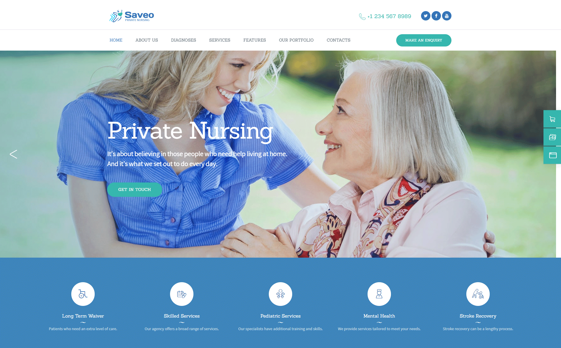 Saveo | In-home Care & Private Nursing Agency WordPress Theme