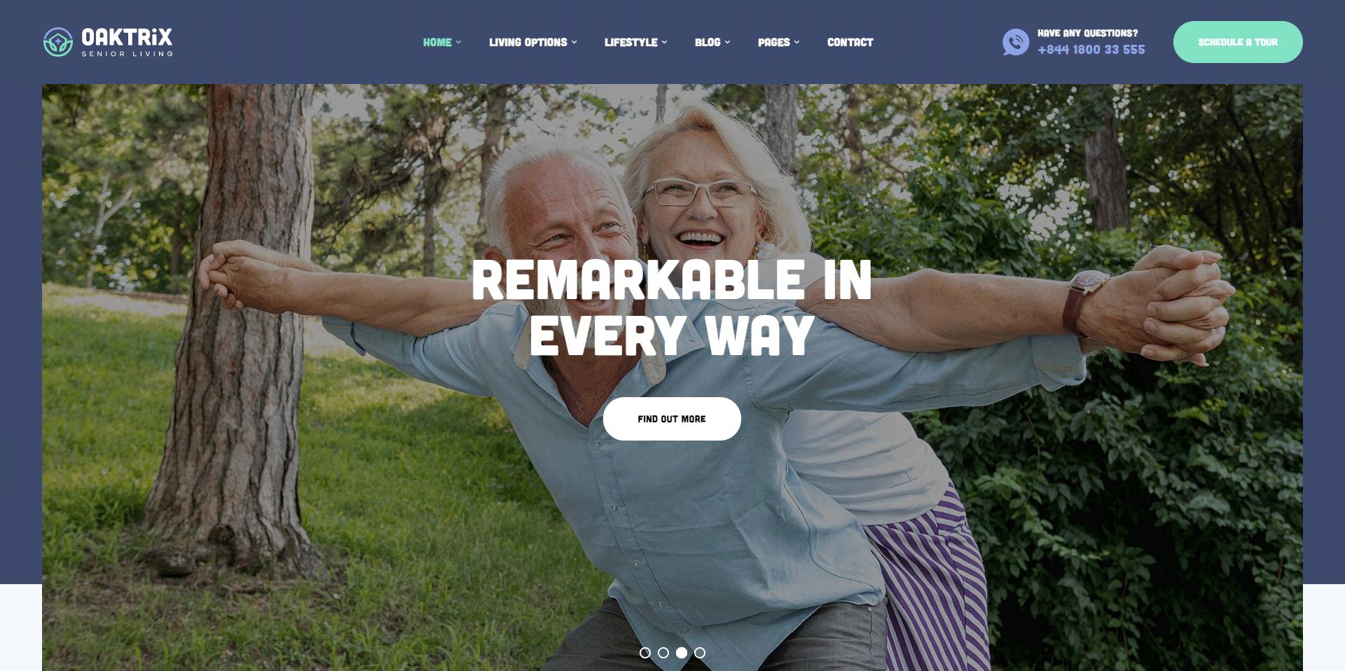 OakTrix - perfect WordPress Theme for Senior Care