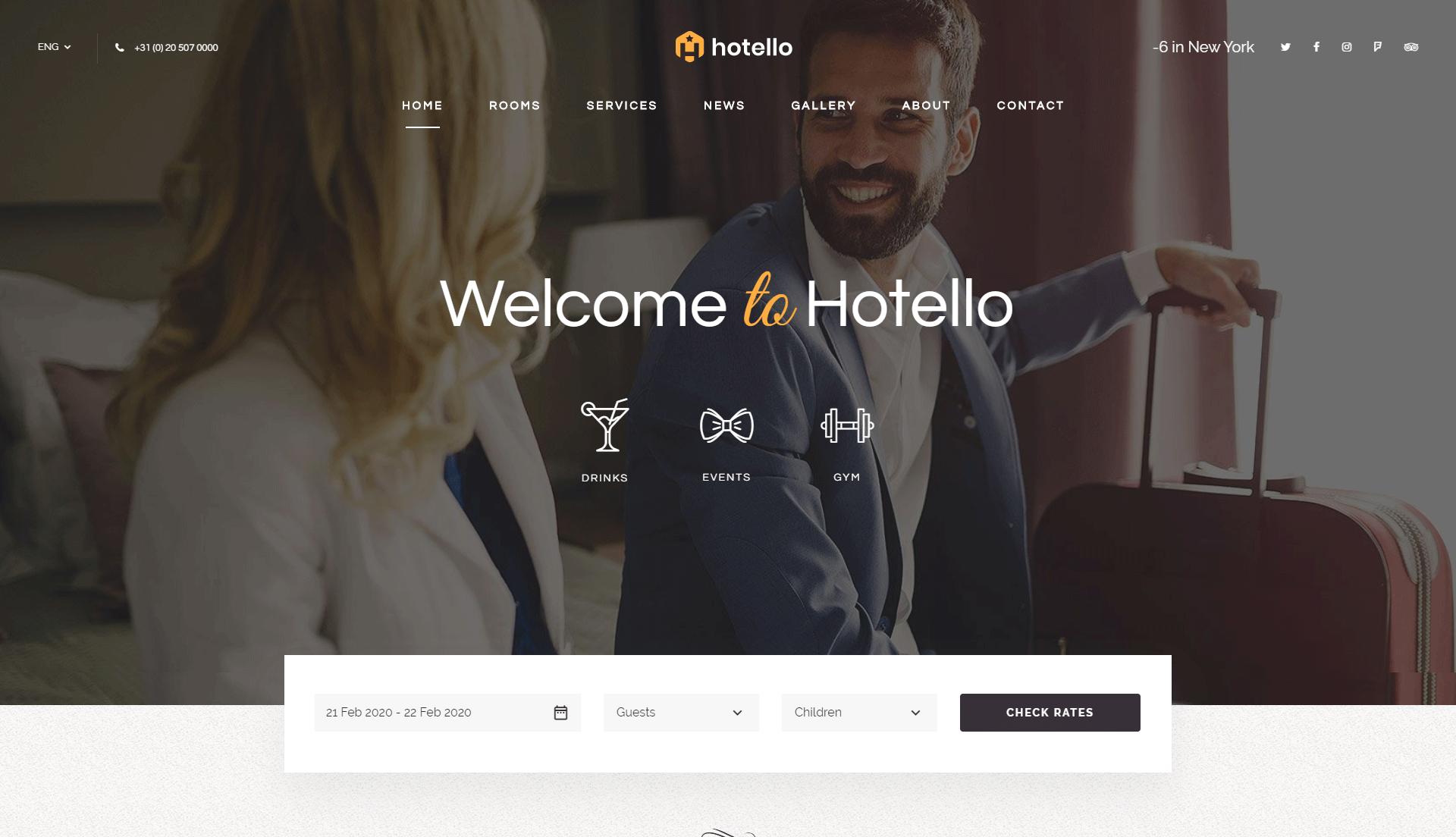 wordpress hotel booking template