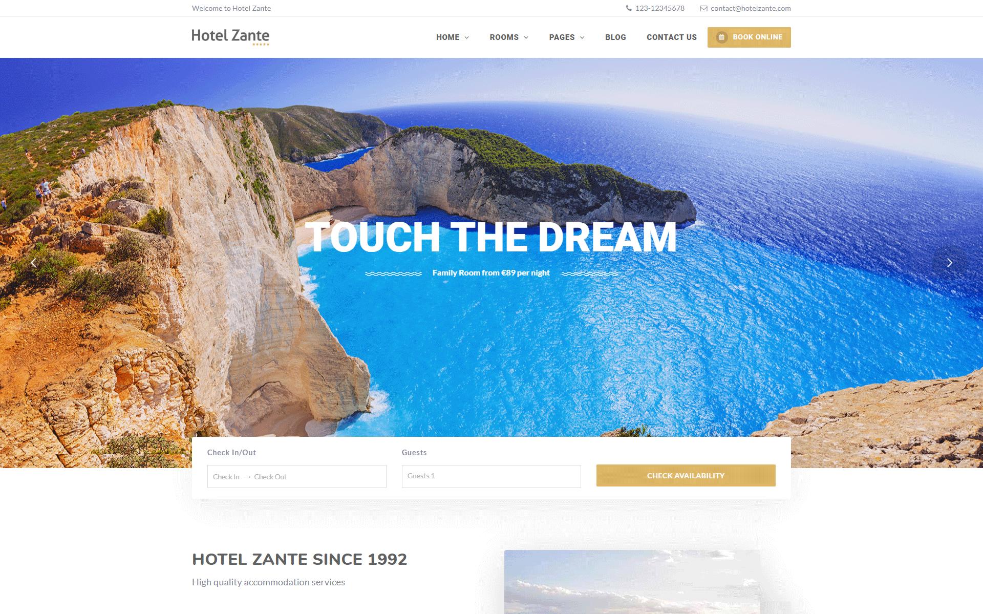 Hotel Zante - hotel wordpress theme with booking