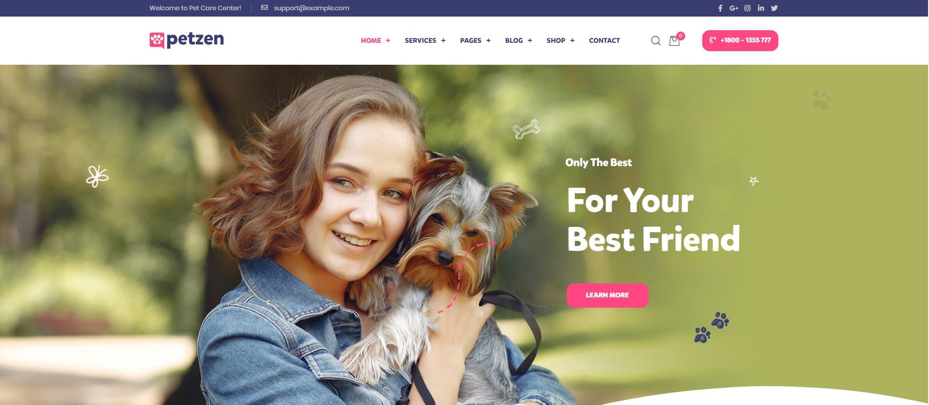 Petie Pet Care Center WordPress Theme