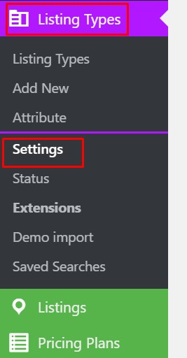 rentex listing type settings