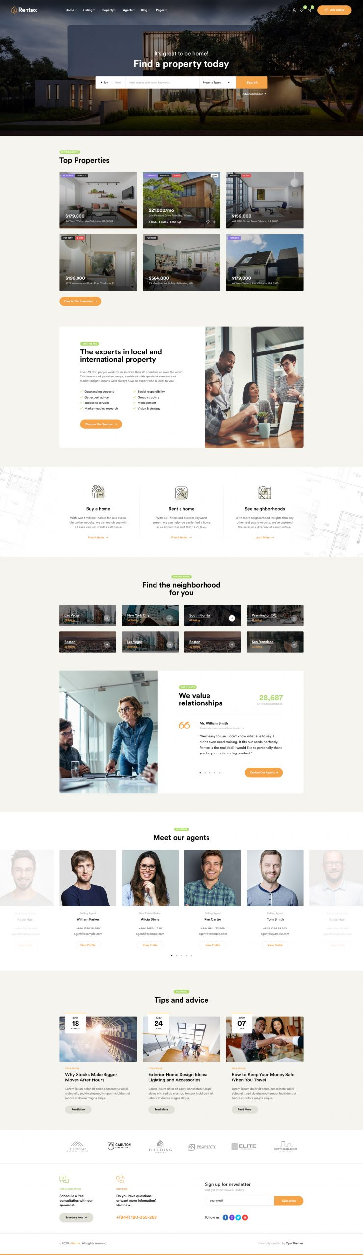 rentex theme review intuitive real estate homepage