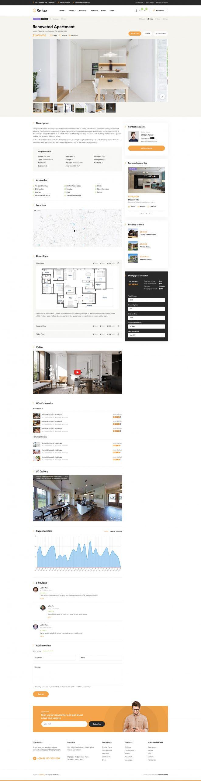 Rentex theme review property detail layout