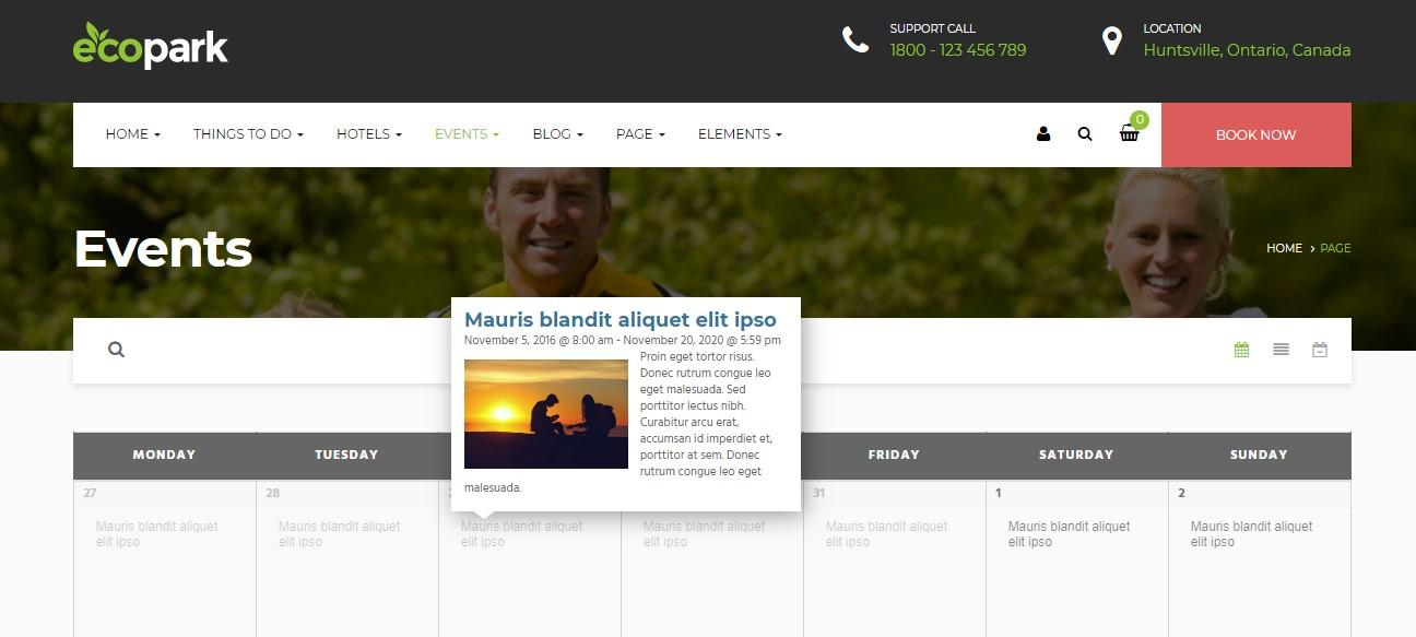 ecopark event wordpress