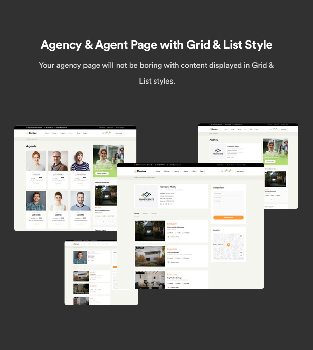 rentex theme review agency agent page