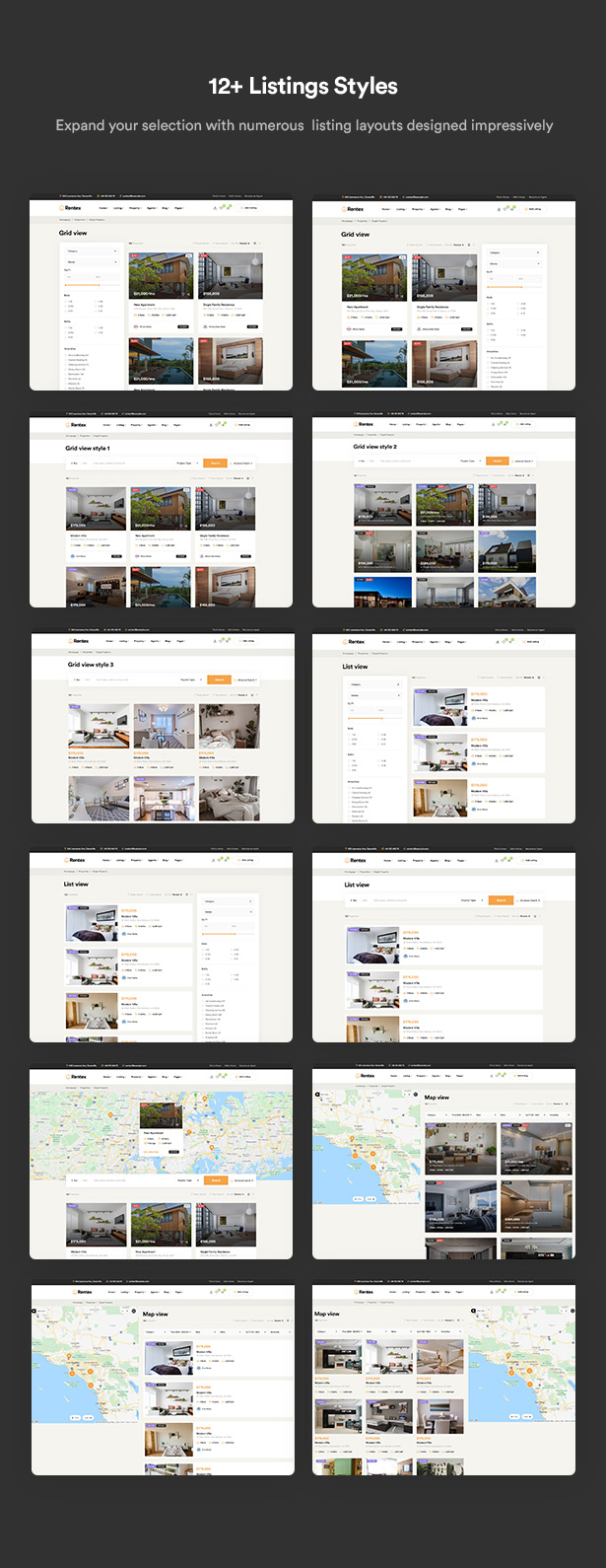 rentex theme review 12 listing layouts
