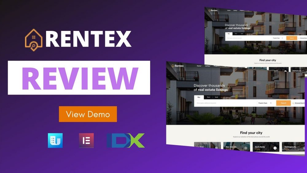 rentex theme review real estate wordpress theme with ulisting