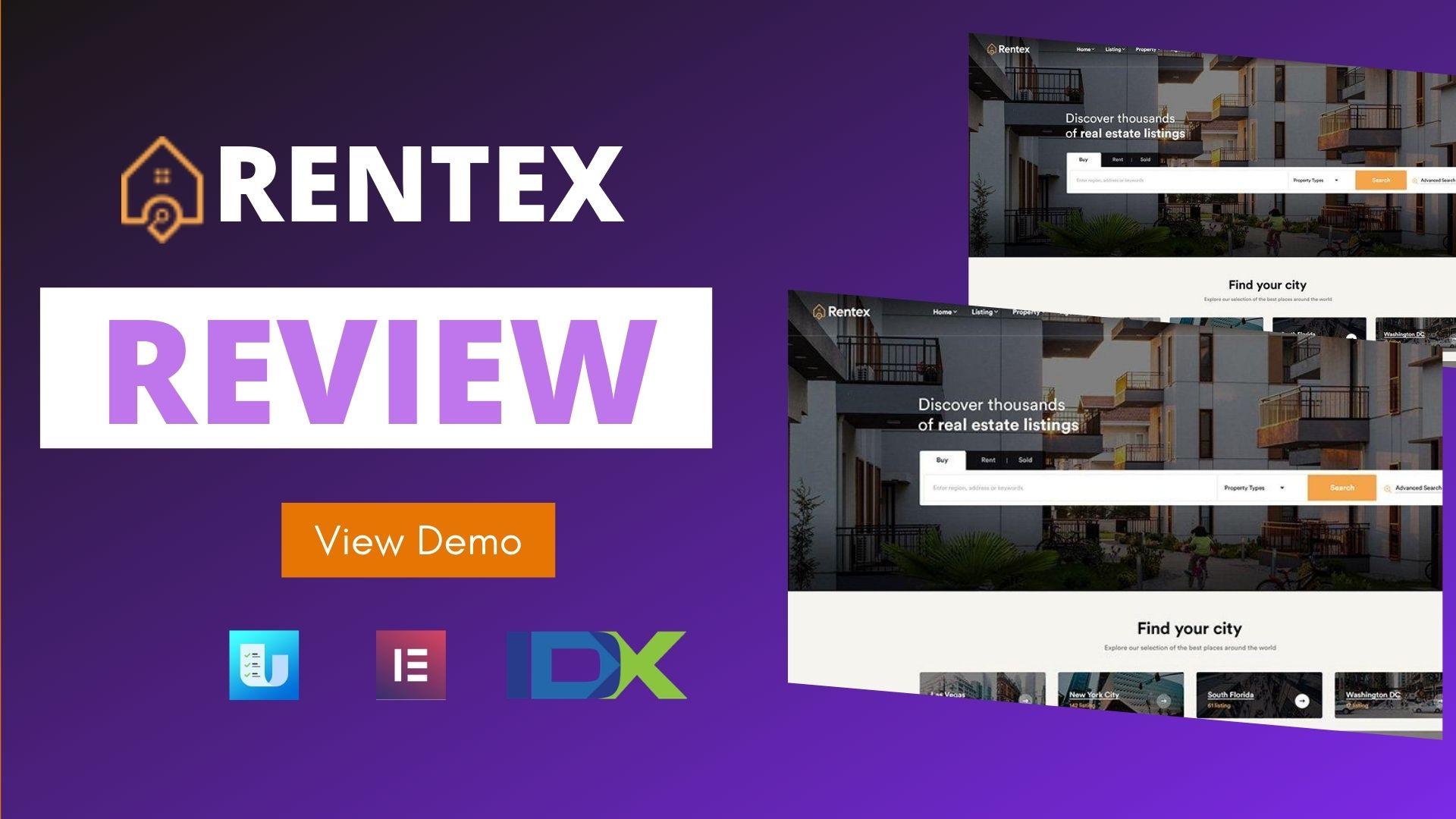 rentex theme review real estate wordpress theme with ulisting