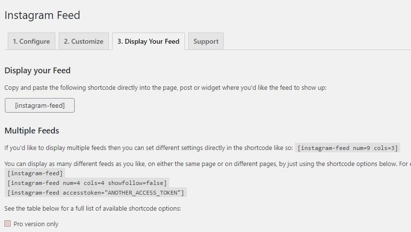 display instagram feed on WordPress