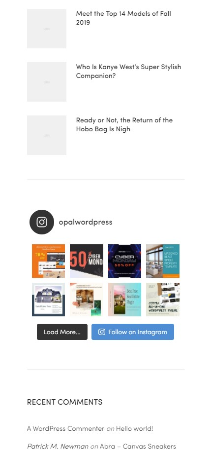 instagram feed with sidebar display