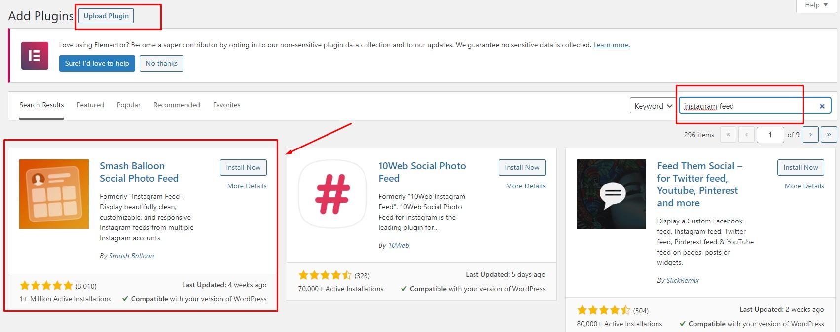 install activate instagram feed wordpress plugin