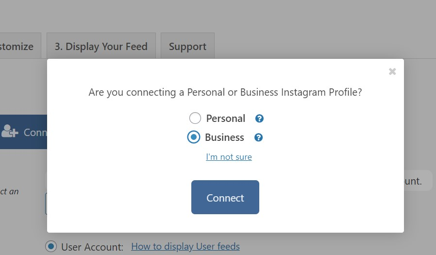 set instagram account as business personal