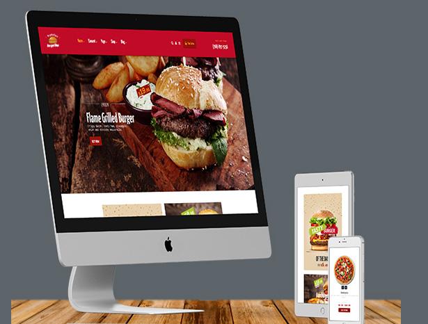 1. Burger slap food restaurant wordpress theme responsiveness