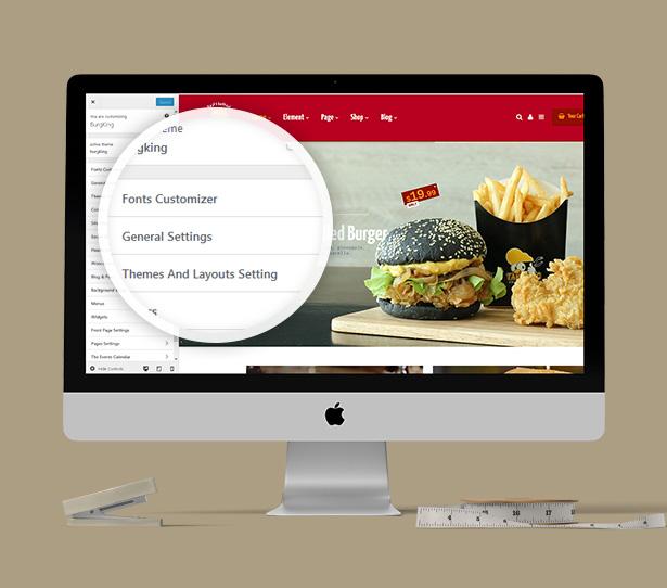 7. Burger slap WP Theme customizer