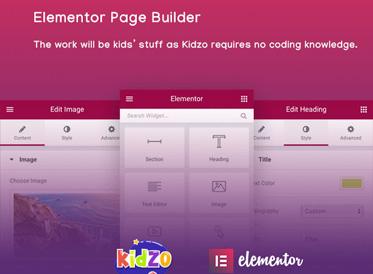 7. Page Builder elementor - kidzo kindergarten school wordpress theme