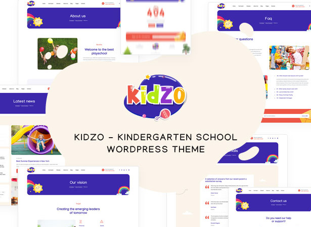 8. Kidzo functional education school wp theme pages