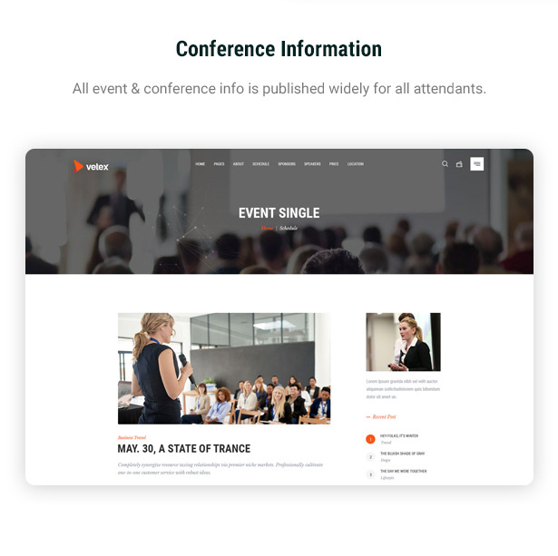 Conference information wordpress theme