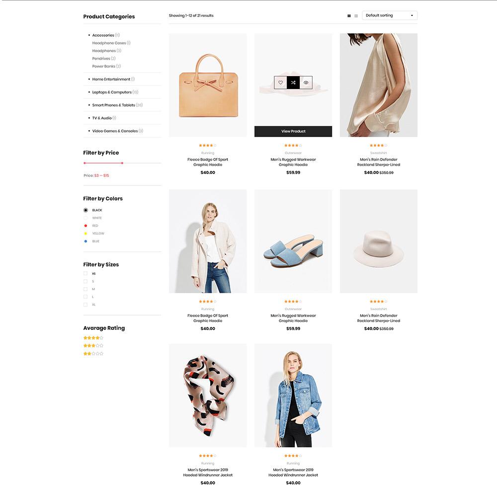 Fitshop Fashion WordPress Theme shop page