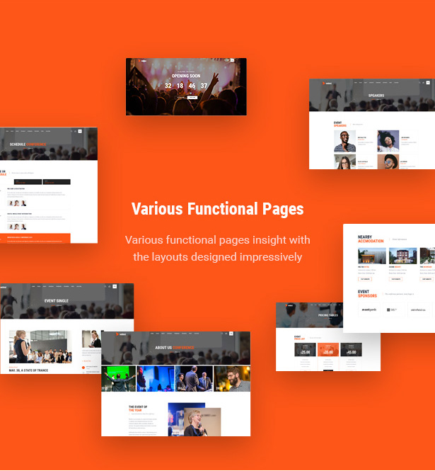 Numerous Internal Pages conference wordpress theme