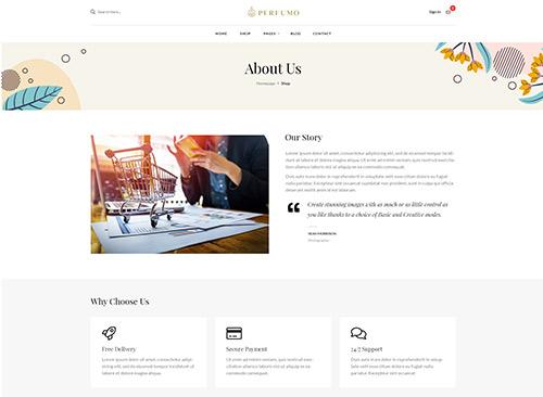 Perfumo - Perfume Shop WordPress Theme - about page
