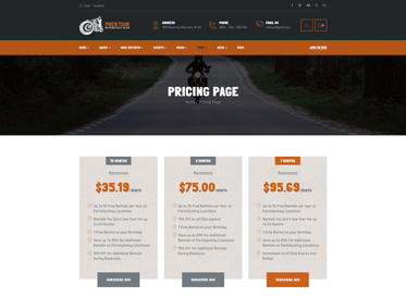 pricing table for biker club wordpress theme